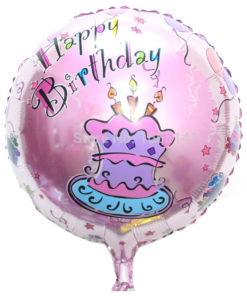 foil ballon round shape pink cake girl happy birthday