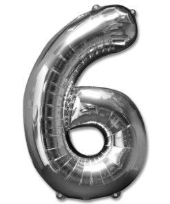 jumbo foil balloon silver letter 6